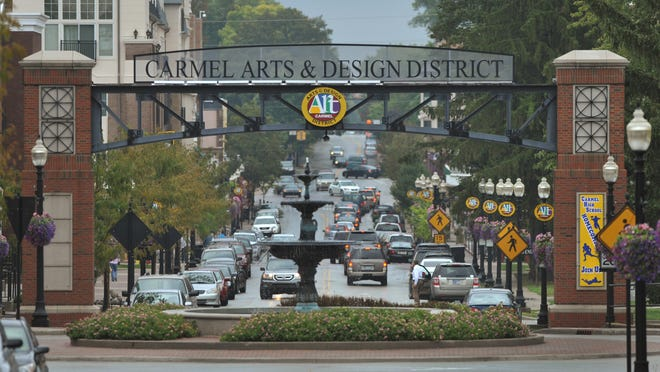 West gateway to the Carmel Arts & Design District on Main Street looking east.