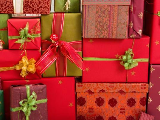 Full frame of christmas presents