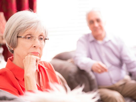 Senior adult couple with relationship difficulties.