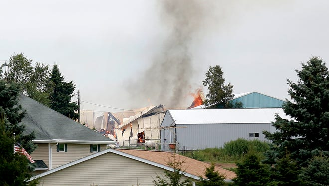 Fire destroyed a barn at W2852 County Highway B, east of Eden. According to scanner pages, the barn had hay in it.