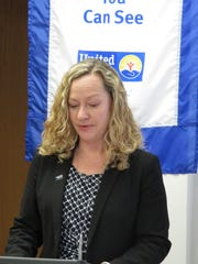 Heather McDaniel speaks during an announcement for