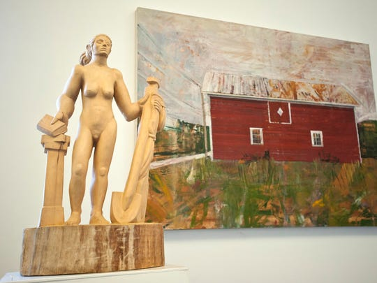 """""""Mantos Departure"""" by Sam Thurston, left, and """"Barn"""" by Peter Fried at the South Gallery on Sears lane in Burlington on Aug. 8."""