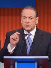 Former Arkansas governor Mike Huckabee speaks during