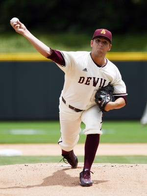 Arizona State pitcher Seth Martinez throws against Gonzaga in the first inning of a Friday, June 3, 2016, NCAA college regional baseball game Fort Worth, Texas.