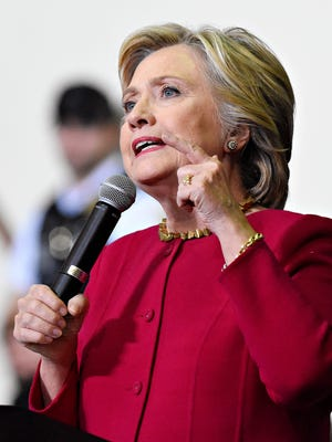 Hillary Clinton speaks at Zembo Shrine in Harrisburg, Tuesday, Oct. 4, 2016. Clinton urges Pennsylvanians to register to vote with only one week remaining before the Oct. 11 deadline. Dawn J. Sagert photo