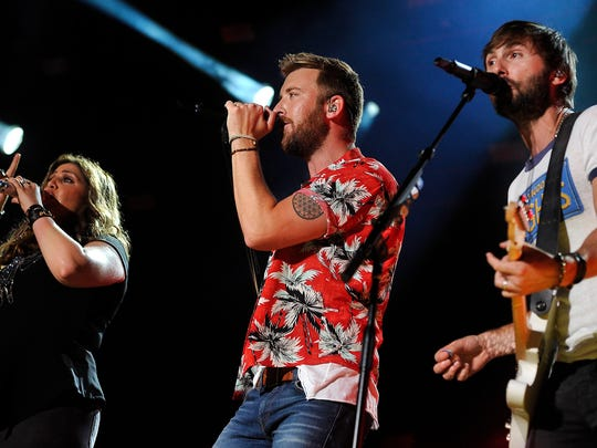 Lady Antebellum performs during the CMA Music Festival on June 12, 2015, at LP Field in Nashville.