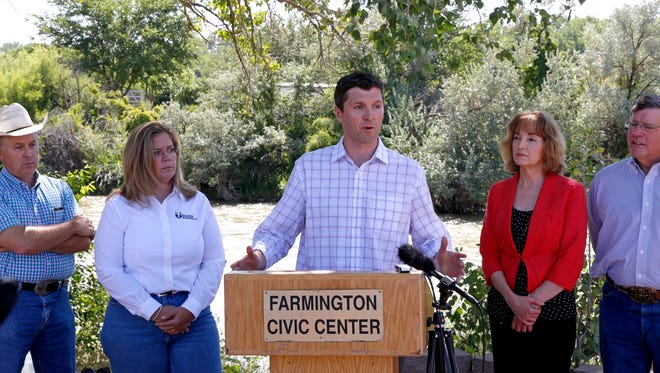 State Environment  Secretary Ryan Flynn speaks during an Aug. 14, 2015, press conference at Berg Park in Farmington in the aftermath of the Gold King Mine spill.