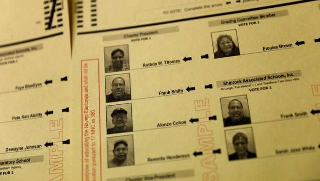 Candidate Frank Smith is featured on a sample ballot recently at the Navajo Nation Election Administration office in Shiprock. Smith was one of two members of the Shiprock Associated Schools Inc. board who was removed from the board and disqualified to hold a Navajo Nation office.