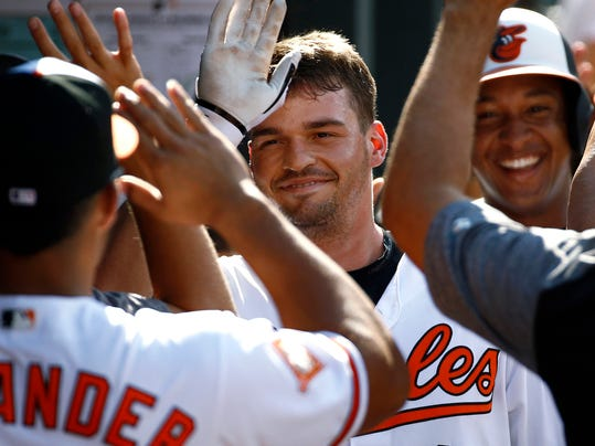In this Aug. 23, 2017 photo, Baltimore Orioles' Trey Mancini high-fives teammates in the dugout after hitting a three-run home run in the fourth inning of a baseball game against the Oakland Athletics in Baltimore. Orioles manager Buck Showalter believes Mancini is going to thrive in his second full season in the major leagues. Mancini had an impressive rookie season. He hit .293 with 24 home runs and 78 RBIs, and made a successful conversion from first base to the outfield, which he had never played professionally. (AP Photo/Patrick Semansky)