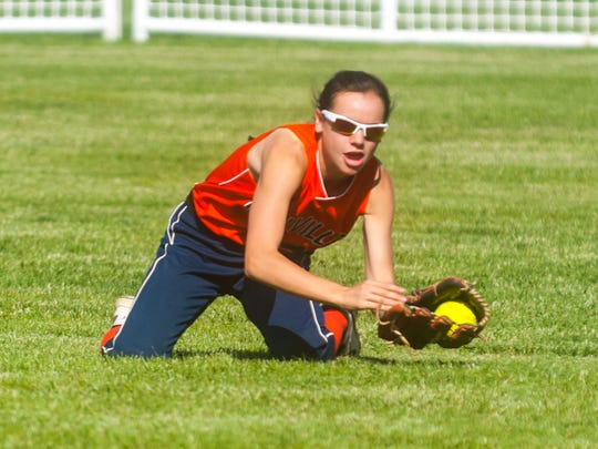 Millville's Abbi Markee, seen here making a diving catch against Cherokee in 2017, has been a consistent hitter despite key changes to her approach. She's a four-year starter for the Thunderbolts.