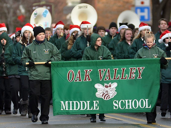 The Oak Valley middle school marches through town.