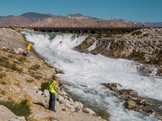 In May, Desert Water Agency and other local water and public safety agencies conducted a safety demonstration, dropping watermelons into the Whitewater River to show how violent the currents can be.