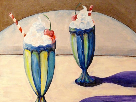 """Milkshake,"" acrylic by Lamyra Adams of Sevastopol High School, part of the 43rd Annual Salon of Door County High School Art at the Miller Art Museum in Sturgeon Bay."