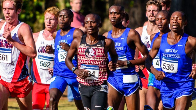 Harry Mulenga leads pack at the NCAA South Region Championships at the Apalachee Regional Park on Fri., Nov. 11, 2016 in Tallahassee, FL.