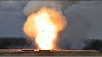 This U.S. Army photo, included in a recent Government Accountability Office report, shows unused ammunition being destroyed at an unspecified Army base.