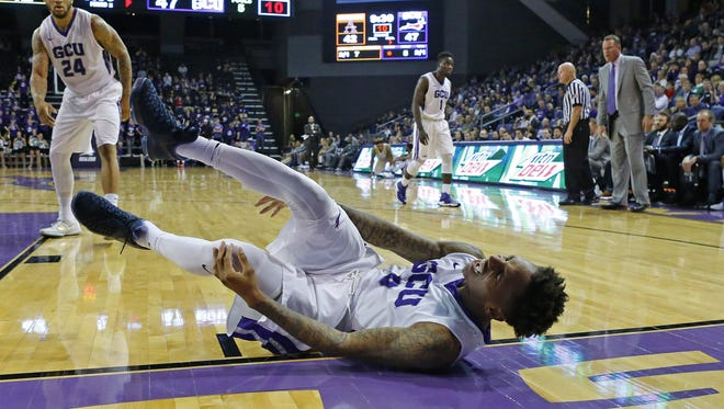 GCU guard DeWayne Russell (0) falls to the court against the Alcorn State Braves during the second half of their NCAA basketball game Tuesday, Dec. 20, 2016 in Glendale, Ariz.