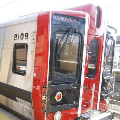 A Metro-North train from Stamford to New York pulls