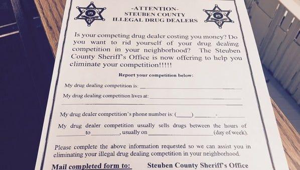 Steuben County Sheriff's Office Drug Dealer reporting flier.