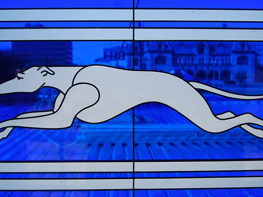 A stained glass window in the old Greyhound station.