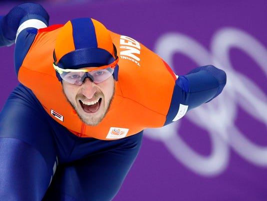 Jan Blokhuijsen, of the Netherlands, strains as he competes during the men's 5,000 meters speedskating race at the Gangneung Oval at the 2018 Winter Olympics in Gangneung, South Korea, Sunday, Feb. 11, 2018. (AP Photo/Vadim Ghirda)