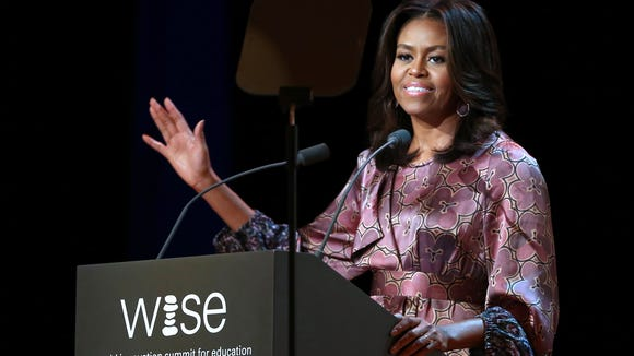 First lady Michelle Obama delivers a speech during