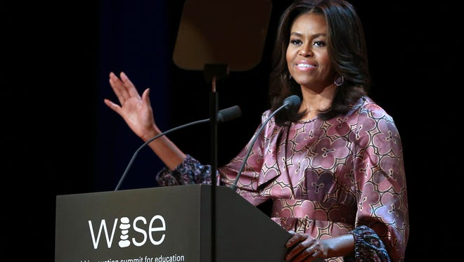 First lady Michelle Obama delivers a speech during the World Innovation Summit for Education (WISE) at the convention center in the Qatari capital Doha on Nov. 4, 2015.