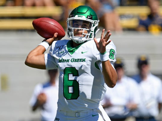North Texas quarterback Mason Fine (6) looks to pass against Cal on Sept. 14.