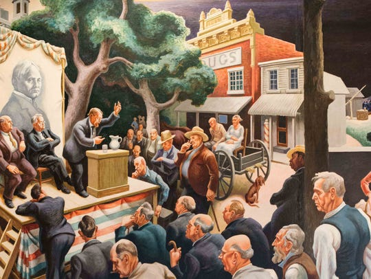 The crowd at the political speech in Thomas Hart Benton's