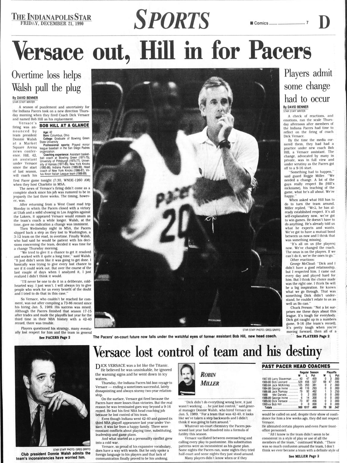 The Indianapolis Star's sports page the day after Bob
