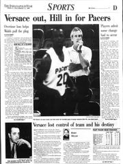 The Indianapolis Star's sports page the day after Bob Hill was named the Pacers' coach.