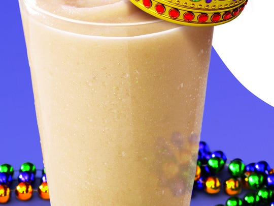 Smoothie King offers a king cake smoothie during the Mardi Gras season.