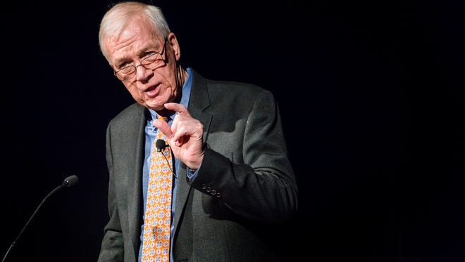 """Boston Globe editor at-large Walter Robinson speaks at Mitchell Hall at the University of Delaware on Tuesday evening. Robinson was part of the investigative team featured in the movie """"Spotlight,"""" that exposed the sex abuse scandal in the Catholic Church."""