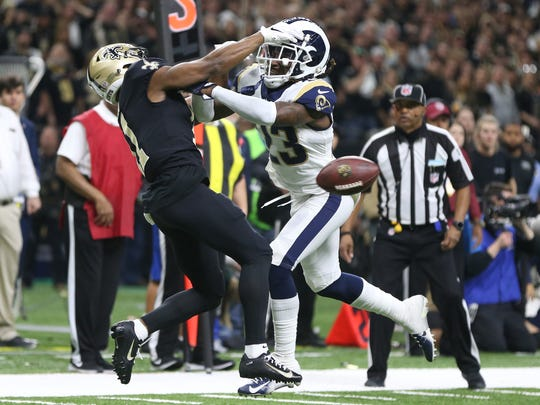L.A. Rams defender Nickell Robey-Coleman (23) admitted he committed pass interference against Saints wide receiver Tommylee Lewis in the final minutes of the NFC Championship game. The penalty was not called and the Rams are headed to the Superbowl.