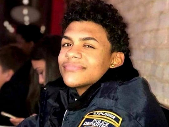 This undated photo provided by the New York City Police Department (NYPD) shows Lesandro Guzman-Feliz, a teenage member of the NYPD's Law Enforcement Explorers program. Guzman-Feliz, 15, was attacked at a bodega in the Bronx borough of New York on June 19, 2018 and died after being slashed in the neck with a machete. Police arrested 19-year-old Kevin Alvarez of the Bronx on Sunday, June 27 in connection with the killing on charges of murder, manslaughter, and gang assault. (NYPD via AP)