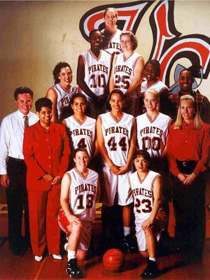 Members of the 1995-96 Ventura College women's basketball team pose for a photo.