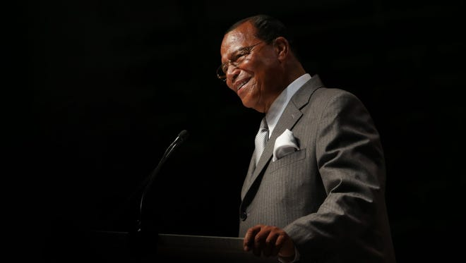 Nation of Islam leader Louis Farrakhan addresses a crowd of 18,000 at Joe Louis Arena on Sunday.