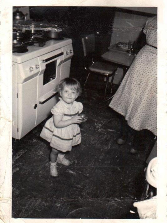Mary Alice and Libby in the Kitchen 347 Phillips Jackson TN 1955
