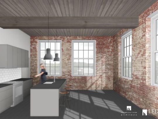 Rendering shows a kitchen area in one of the lofts.