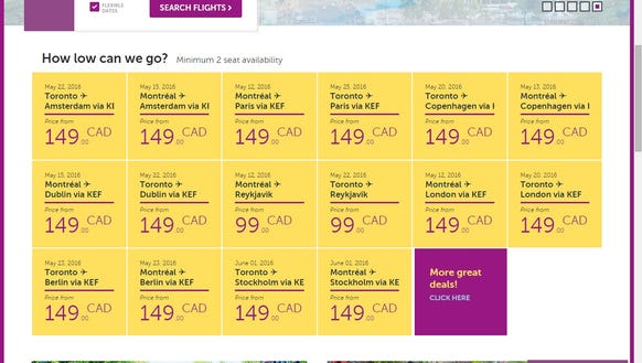 An Oct. 1, 2015, screenshot of WOW Air's website showing