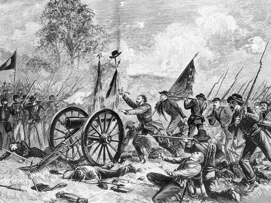A drawing shows Confederate soldiers in Pickett's Charge