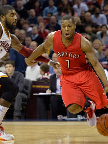 Toronto Raptors guard Kyle Lowry (7) dribbles the ball