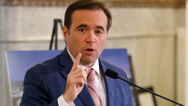 Mayor John Cranley speaks about a proposed financing package to pay for infrastructure in support of proposed soccer-specific stadium for FC Cincinnati from his office at Cincinnati City Hall in downtown on Friday, Nov. 17, 2017.