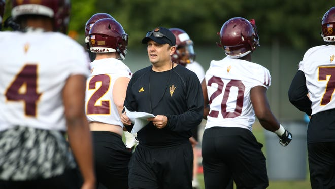 Arizona State defensive coordinator Danny Gonzeles on Mar. 15, 2018 during spring football practice in Tempe, Ariz.