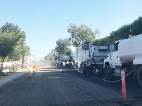 Work is scheduled to wrap up Dec. 16 on a widening project at Bob Hope and Frank Sinatra. In this photo heavy equipment is seen on Frank Sinatra on the east bound lanes.