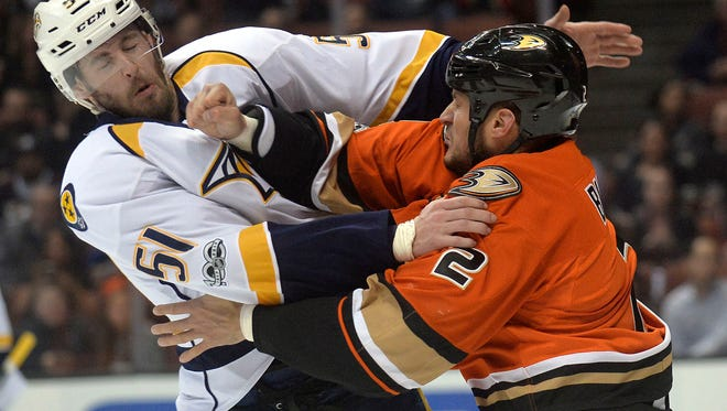 Predators forward Austin Watson is among the NHL leaders in fighting majors this season.