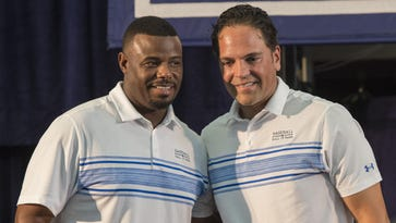 Hall of Fame inductees Ken Griffey Jr., left, and Mike Piazza pose for a photo after the press conference Friday prior to the MLB baseball hall of fame parade of legends at the National Baseball Hall of Fame in Cooperstown.