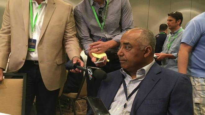 Marvin Lewis sits with the media at the 2017 AFC Coaches' Breakfast during the owners meetings in Arizona on Tuesday.