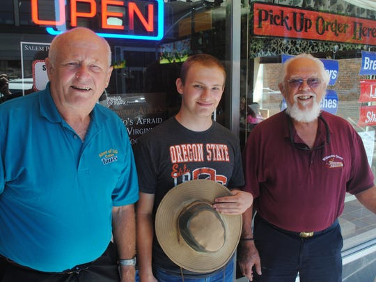 Jerry Herrmann, Isaac Ehrlich and Richard Chesbrough at the Statesman Journal's Holding Court at the Court Street Dairy Lunch in downtown Salem on Tuesday, July 11, 2017.