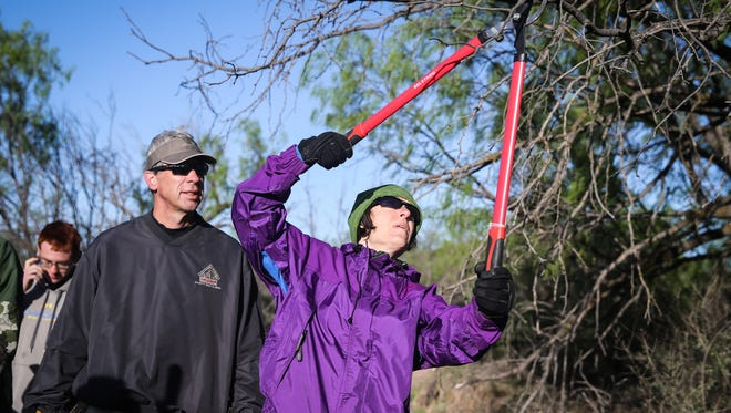 Jeff and Janet Urbanski helped maintain the trails Saturday, April 14, 2018, at San Angelo State Park.