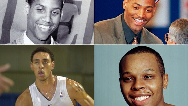 Reggie Miller (top left, clockwise), Robert Horry, Bonzi Wells and Jared Jeffries  were picked No. 11 overall in the NBA Draft.